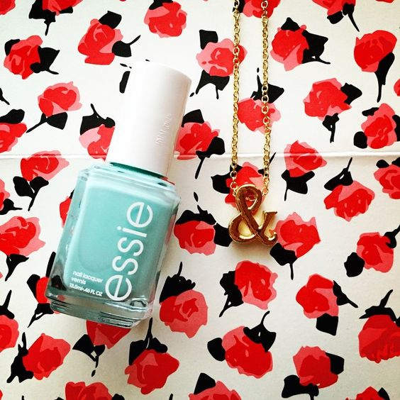 essie polish in blossom dandy + ampersand necklace c/o carrie grace shop