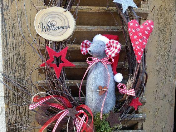 Türkranz Filzmaus Natur Grau Nikolaus Weihnachten von mein rosa rot  auf DaWanda.com