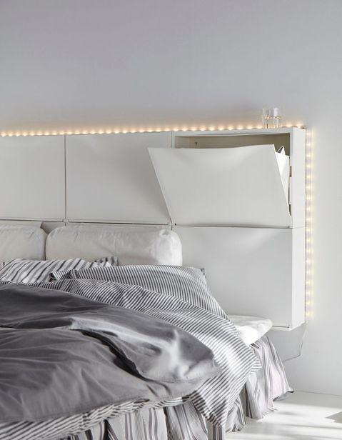Ikea Shoe Storage Diverted At The Head Of The Bed Meuble Tete De Lit Deco Tete De Lit Tete De Lit Ikea