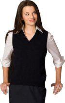 Women's V-Neck Sweater Vest, Black Large