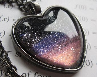 Sunset - Heart Necklace - Science Jewelry - Galaxy Jewelry - Physics Jewelry…