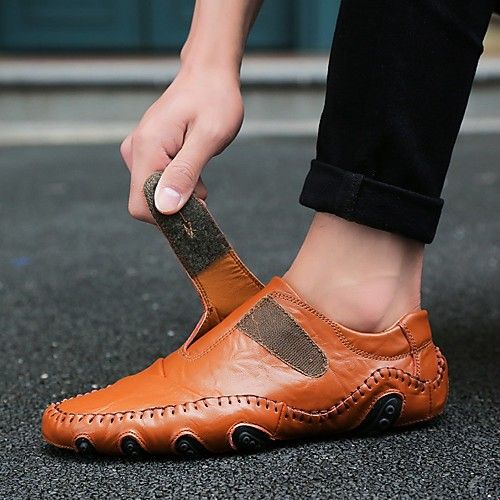 Men S Loafers Slip Ons Comfort Shoes Casual Daily Outdoor Walking Shoes Nappa Leather Non Slipping Wear Proof Black Brown Spring Summer Fall Eu40 2020 Driving Shoes Men Comfortable