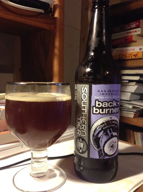 Southern Tier is a great brewery from upstate NY.they make one of my favorite Barleywine ales, the oak aged Backburner! Malty, boozy, biscuity with a nice hop balance. A great beer!