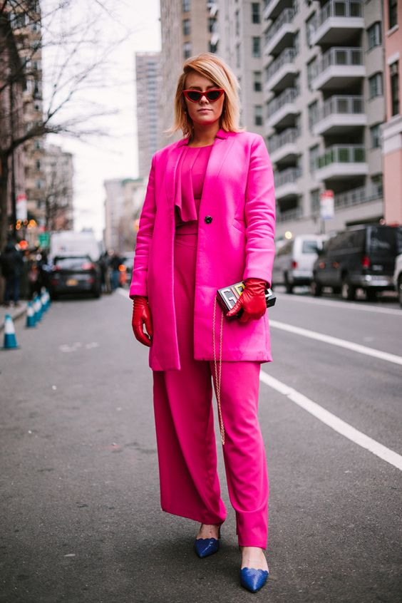 The Best of NYFW Street Style FW18 all pink uniform hot millennial pink