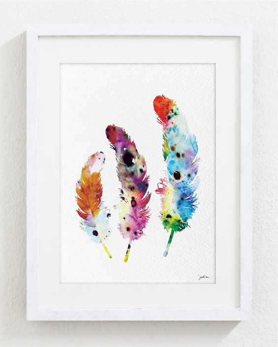 Colorful Feathers Watercolor Print - 5x7 Archival Fine Art Print - Feather Print - Feather Art - Gift, Wall Decor, Home Decor, Housewares