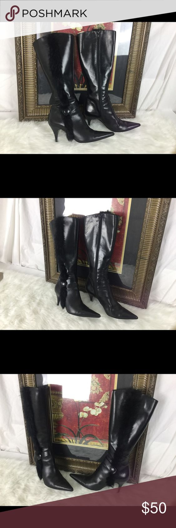 """🆕Listing. Charles David Boots.  Sz 7 ❤️ These Charles David leather boots are amazing.  Check out the fur.  Sz 7. The circumference of the top of the boot is 6.5"""". Heel height is 3"""".  In good condition.  The heel might need a little work but all and all these are amazing. Charles David Shoes Heeled Boots"""