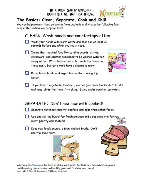 Printables Food Safety Worksheets other cooking and kid on pinterest chef solus food safety rules checklist nutition worksheets fun printables for kids