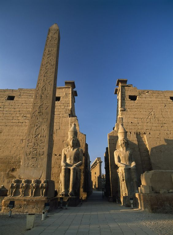 Luxor Temple Location: Egypt. Built: Between 1,100 and 1,600 B.C. This Ancient Egyptian temple on the east bank of the Nile has served as a place of worship for nearly 3,500 years. The site is known for its avenue of sphinxes and the towering Pylon of Ramses II. The structure was constructed during the reigns of several pharaohs, including Amenhotep III, Ramses II, and Tutankhamen, who is credited with much of the temple's decoration