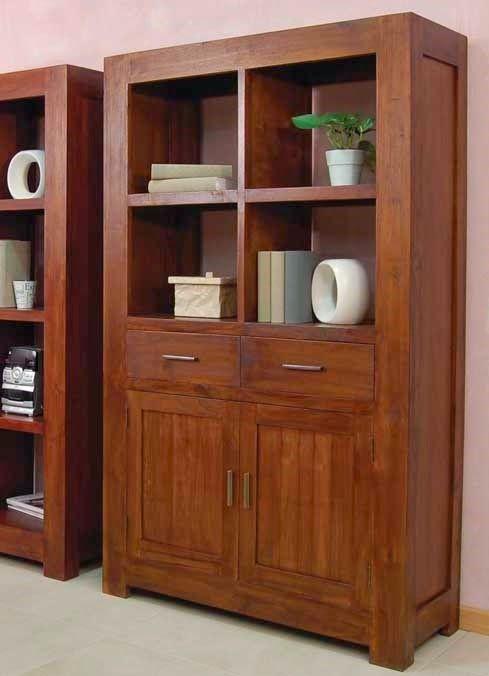 Librería NURIA 2 de Bambó Blau, para salón, comedor o despacho. Con estantes, cajones y puertas de madera de teca acabado Basic. Estilo colonial.