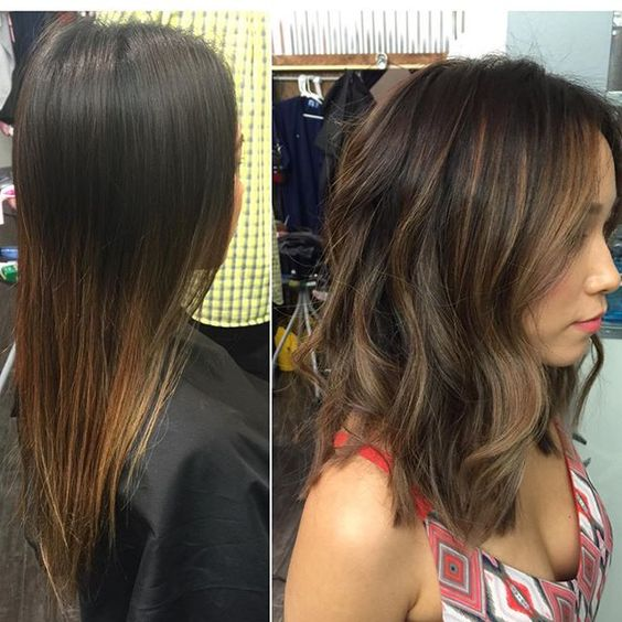 Instagram media by myrapinkshairandmakeup , Before  after!! Did a dark brown base with balayage highlights. Toned to an ash beige dark blonde.