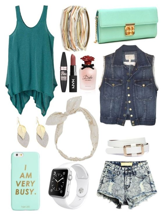 """Denim and Teal"" by eacohen on Polyvore featuring Dasein, Carole, ban.do, Kendra Scott, Apple, prAna, Current/Elliott, Dolce&Gabbana and Maybelline"