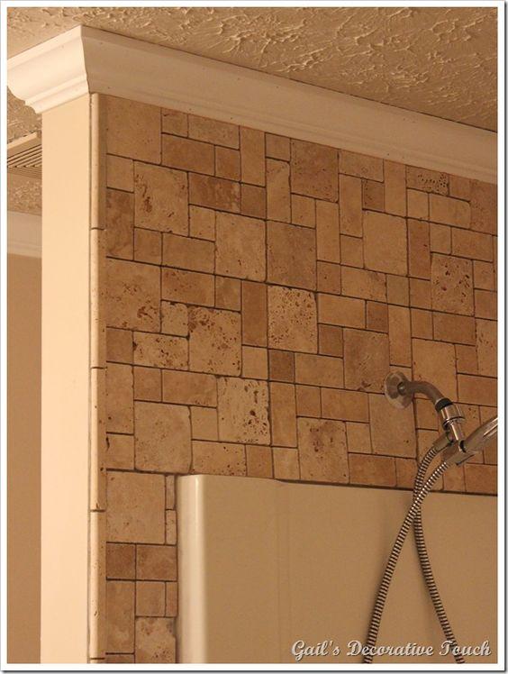 Shower tiles shower surround and tile on pinterest for Fiberglass crown molding