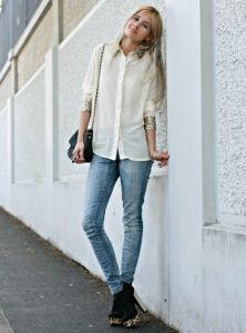 Shop this look - cream shirt & blue jeans