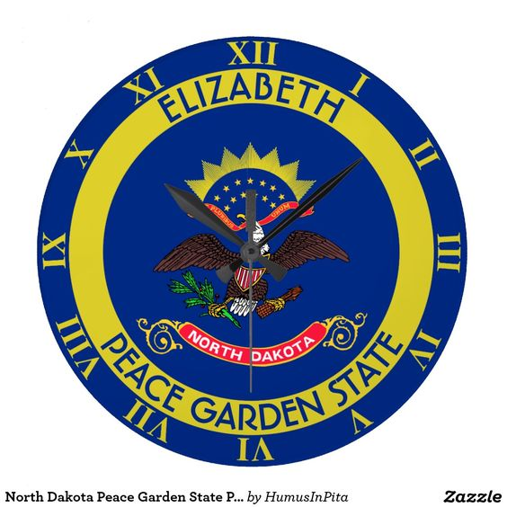 North Dakota Peace Garden State Personalized Flag Wall Clock