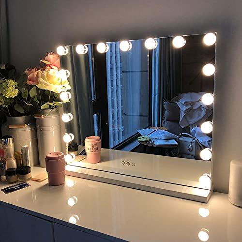 Buy Fenchilin Large Vanity Mirror Lights Hollywood Lighted Makeup Mirror 15 Dimmable Led Bulbs Dressing Room Bedroom Tabletop Wall Mounted Slim Metal F In 2020 Lighted Vanity Mirror Mirror With Lights
