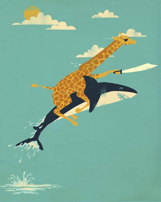 poster mit tieren geschenkidee giraffe hai