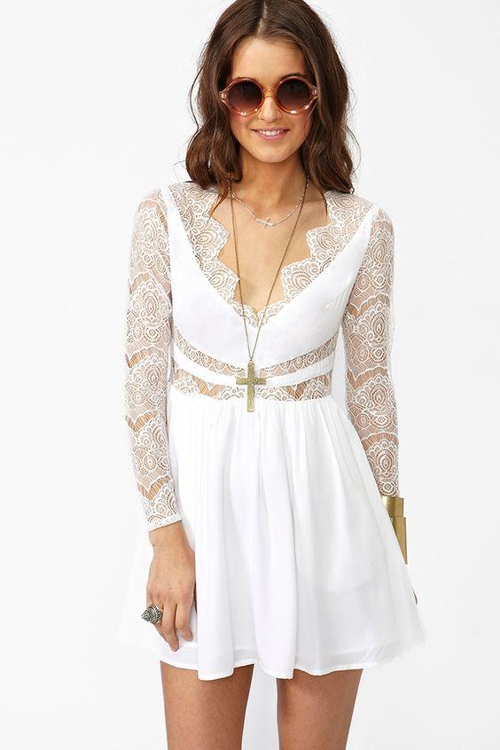 Paradise Stars Dress - White