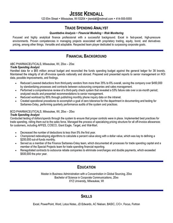 Proprietary Trading Resume Sample -    wwwresumecareerinfo - resume for financial analyst