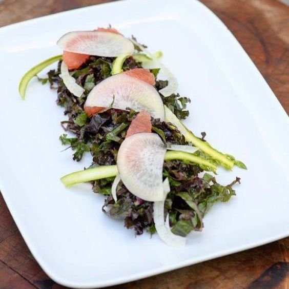 Happy #NationalKaleDay! 🍴Here is our team's Purple Kale Salad with Shaved Asparagus, Fennel, Pickled Black Radish, Grapefruit Segments and Rose Lavender Vinaigrette. #Yum #CateringLife [photo: @robertnormanphotography]