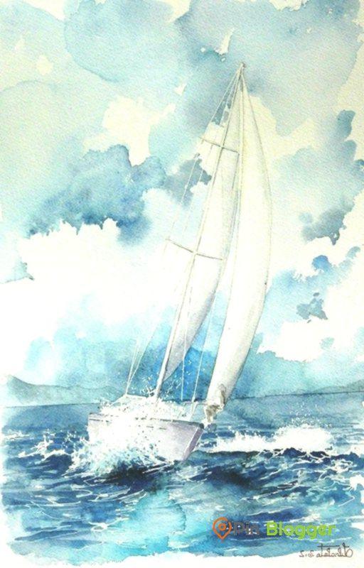 Valerio Libralato Akvarel Bateaux Peinture Aquarelle Peinture