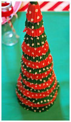 Cupcake Liner Christmas Trees!  Perfect Christmas Craft!