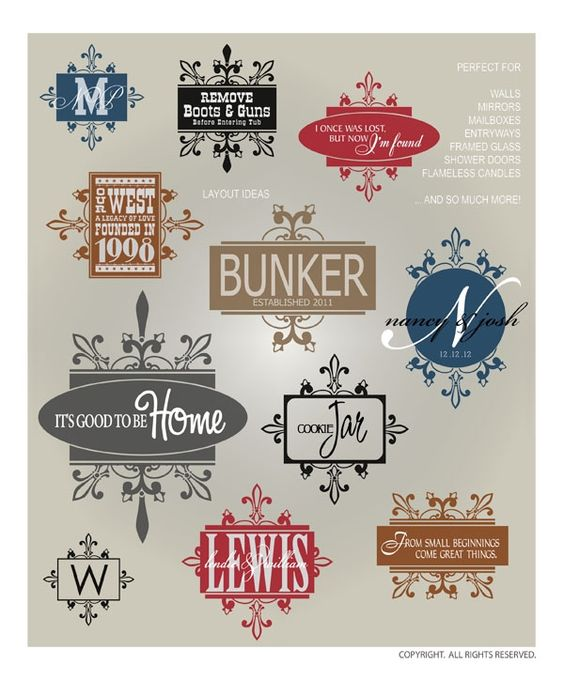 DIGITAL DOWNLOAD ... decorative borders and frames in vector graphics. Perfect for monograms, mailboxes, signs, and well, anything needing a personal touch @ My Vinyl Designer (http://www.myvinyldesigner.com/Products/frames--borders-8.aspx#)