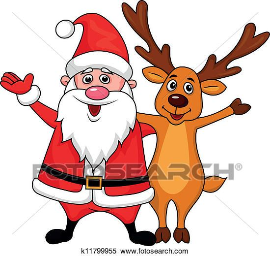 Santa Clause With Deer Waving Clipart K11799955 Fotosearch Santa Claus Pictures Wave Clipart Deer Cartoon