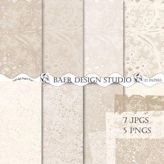 LACE DIGITAL PAPER, Digital Paper Vintage, Digital Paper Ivory ...