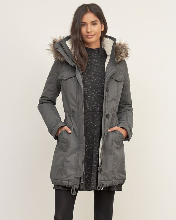 Womens A&ampF Sherpa Lined Military Parka | Military-inspired with