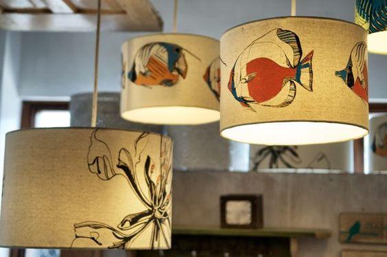 Hand silkscreen lampshades www.thegreenroomtz.com