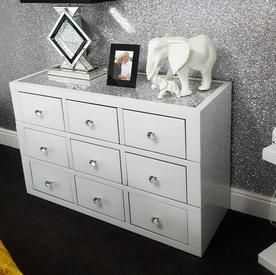 White Mirror Crush 9 Drawer Mirrored Chest Of Drawers Mirror Chest Of Drawers White Mirror Mirrored Chest