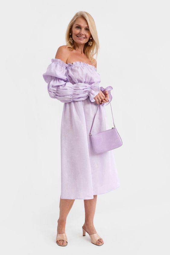 Michelin Linen Dress in Lavender daily sleeper