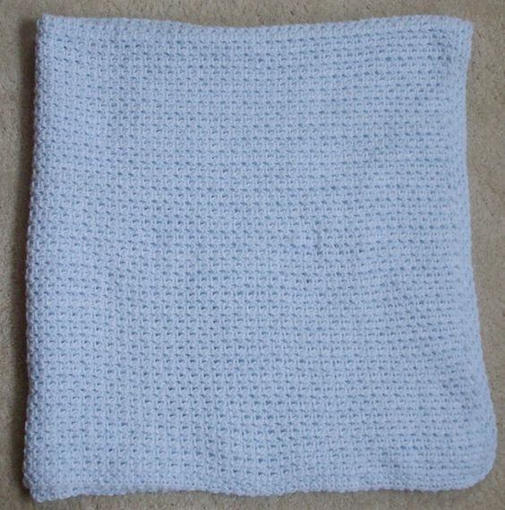 Stitch: Woven Stitch Using US J/10 Hook. Material 100% Acrylic Sport Weight Baby Yarn by Bernat Baby in Baby Denim Marl. Dimensions: 42in X 40in. Selling Status: SOLD! Location: Rochester, MN.