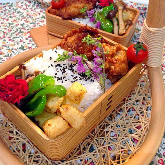 Bento  japanese lunch box 唐揚げ弁当 お揚げさんとシメジ、ピーマンのピリ辛炒め 大きな唐揚げ