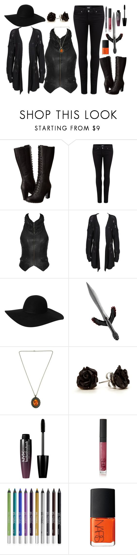 """""""Crow #9"""" by travelcutie ❤ liked on Polyvore featuring Timberland, Paige Denim, One Teaspoon, Monki, Raven Denim, NYX, NARS Cosmetics and Urban Decay"""
