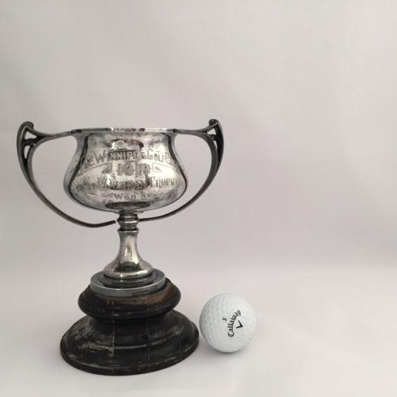 Antique Winnipeg Golf Club 1910 Trophy Black Wooden Base