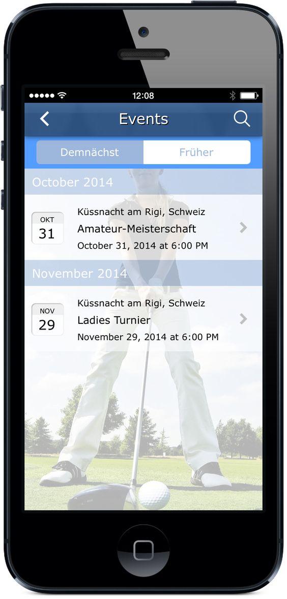 Die Golf-Club App - Eventkalender mit allen Details zu Messen, Turnieren und Events. Jetzt live testen: http://nextvisionapps.com/de/online-demo-golf-club
