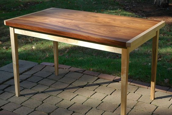 "Solid Khaya crotch and fiddleback maple kitchen or dining table. 50""L x 29""W x30""H"