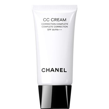 Chanel Complete Correction CC Cream.  CC creams are similar to BB creams, except they typically have a lighter formula and focus on concealing problem areas. Chanel's CC cream is formulated to smooth, moisturize, protect and even out skin imperfections. Light enough to us as a base but can be used alone.