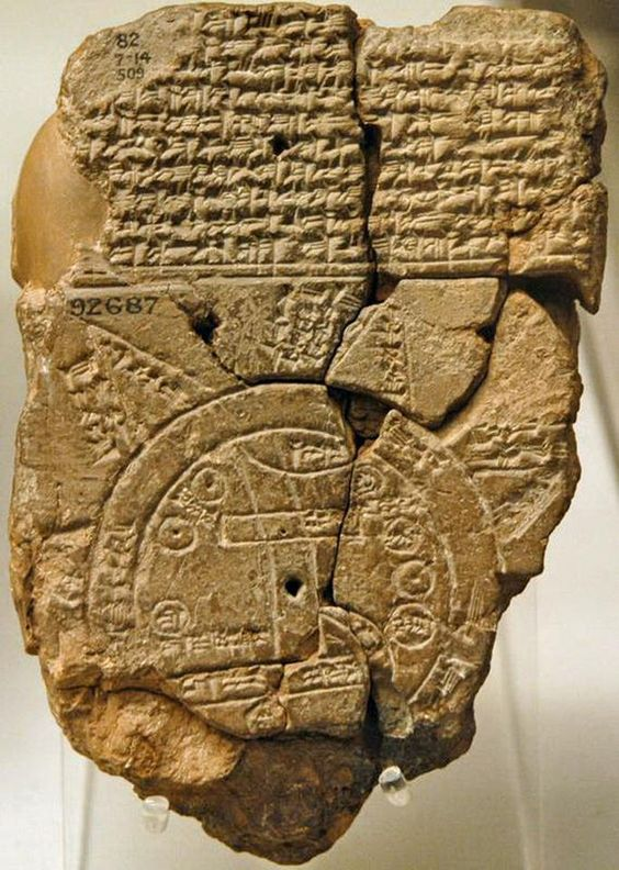 "Babylonian clay tablet, the oldest world map (6th century BC), from Sippar in southern Iraq. Known by scholars as the ""Mappa Mundi"" it is the only known world map dating from the Neo-Babylonian period. It shows the world as round and surrounded by a circular sea, and placing Babylon at the center. Mesopotamia British museum - المتحف البريطاني"