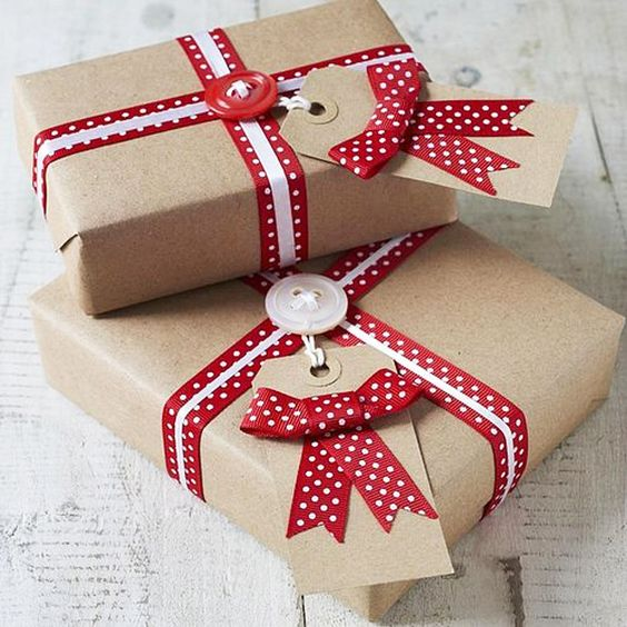 DIY Christmas Wrapping paper - raid your sewing box for some red and white buttons and add a red spotty ribbon to get this classic Christmas look!