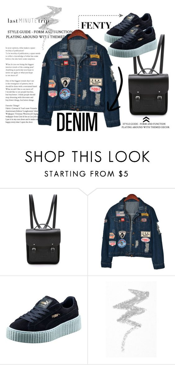"""hop Out"" by lynntrend on Polyvore featuring The Cambridge Satchel Company, Chicnova Fashion, Puma, NYX, denim, Rihanna and fenty"