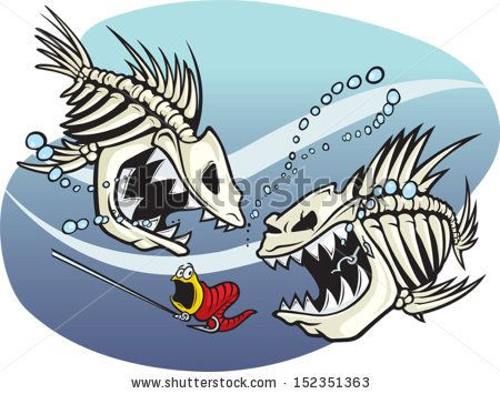 Skelefish A Pair Of Wicked Cartoon Skeleton Fish Vector
