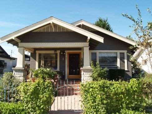 Craftsman california bungalow and bright green on pinterest for Craftsman style bungalow for sale