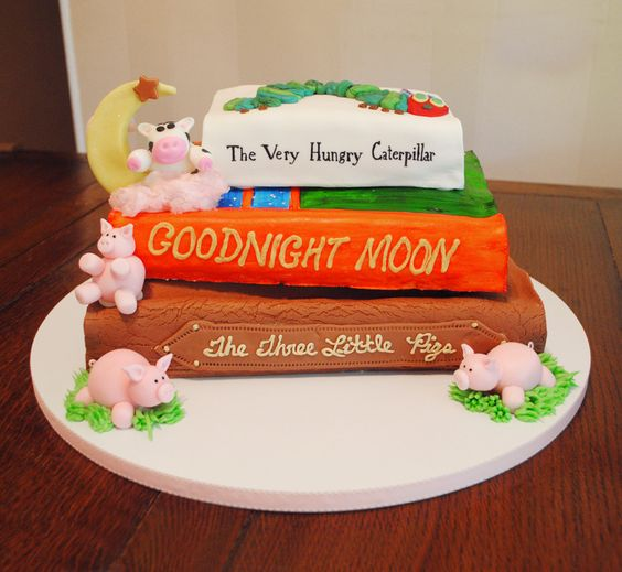 Stacked Storybook Baby Shower Cake