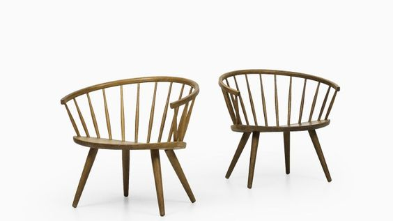 A pair of Arka easy chairs designed by Yngve Ekström Produced by Stolab in Sweden Oak Excellent vintage condition, with minor signs of usage 1950's Mid century, Scandinavian Dimensions (W x D x H): 73 x 56 x 66 cm, SH: 35 cm Price: 3500 €