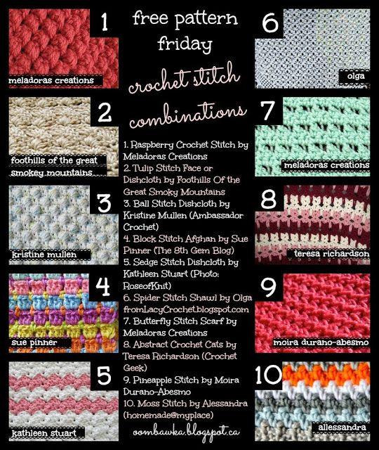free+pattern+friday+crochet+stitch+combinations Crochet Stitch ...