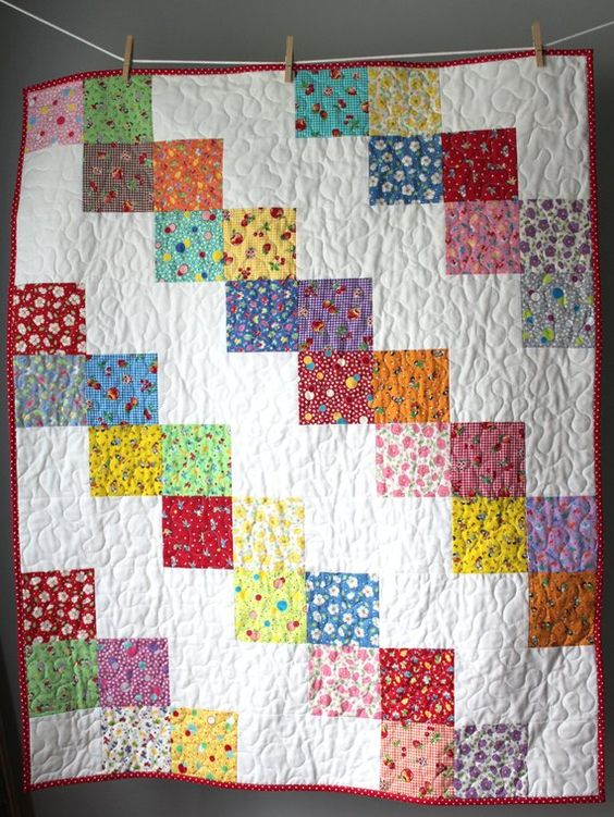Baby Girl Quilt- Feed sack Baby Quilt- Granny Chic Baby Bedding- Granny Chic Nursery-Classic Nursery