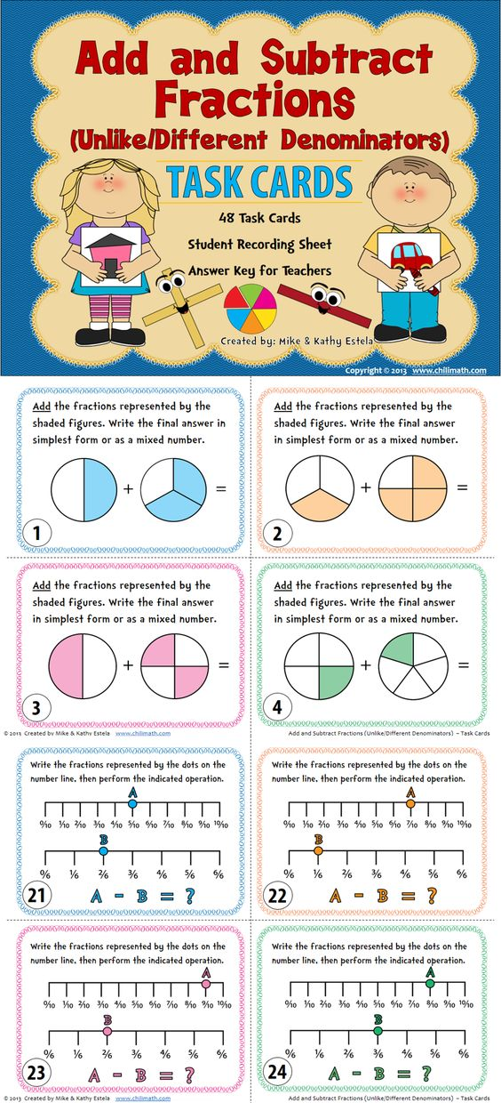 Adding and Subtracting #Fractions with Unlike/Different Denominators Task Cards $ #math