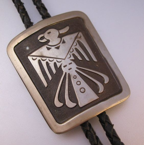 $22.00 Native American Bell Trading Post Thunderbird Bolo Tie 1970s Nickel Silver Vintage Jewelry Jewellery FREE SHIPPING by BrightEyesTreasures on Etsy